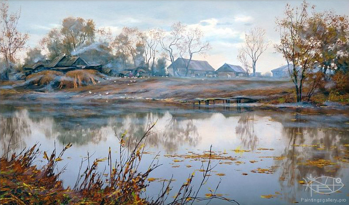 Adamow Alexis - 'Autumn Evening in Village'