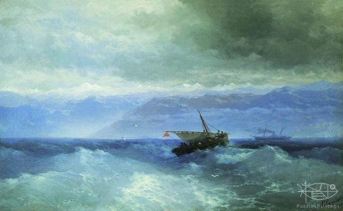 Aivazovskiy Ivan Konstantiovich - 'The Caucasian Mountains from Sea'