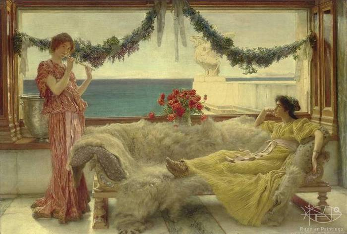 Alma-Tadema Lawrence - 'Melody on a Meditaranean Terrace'