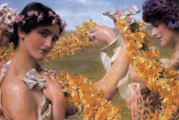 Alma-Tadema Lawrence - 'When Flowers Return'