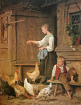 Anker Albert - 'Girl Feeding Chickens'