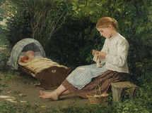 Anker Albert - 'Knitting Girl Watching the Toddler in a Craddle'