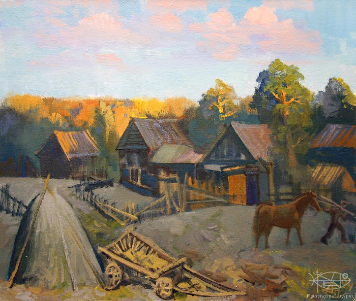 Antonov Nikolay - 'Evening in Village'