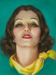 Armstrong Rolf - 'Brunette with Pearl Earrings and Yellow Tied Scarf'