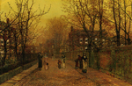 Atkinson John - 'A Village Street on Sunday Eve'