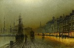 Atkinson John  - 'Greenock Harbour at Night'
