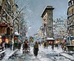 Blanchard Antoine  - 'Porte St. Denis in Winter'