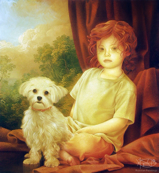 Braginskiy Arthur - 'Girl with Dog'
