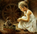 Braginskiy Arthur - 'Girl with Kitten'