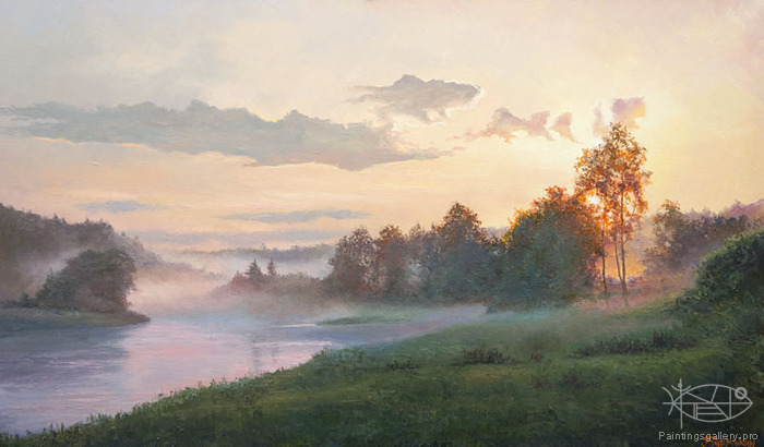 Burmakin Yevgeniy - 'Foggy Morning on the River'
