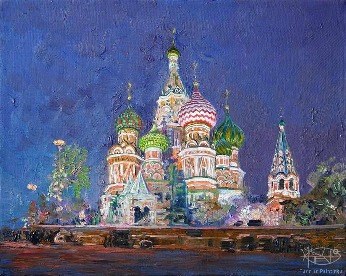 Cojin Semen - 'St. Basil's Cathedral at Night'