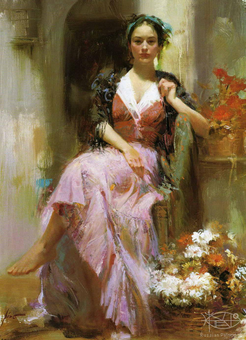 Dangelico Giuseppe - 'Lady and Flowers'