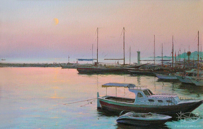 Dmitriew George - 'Moon and Yachts'