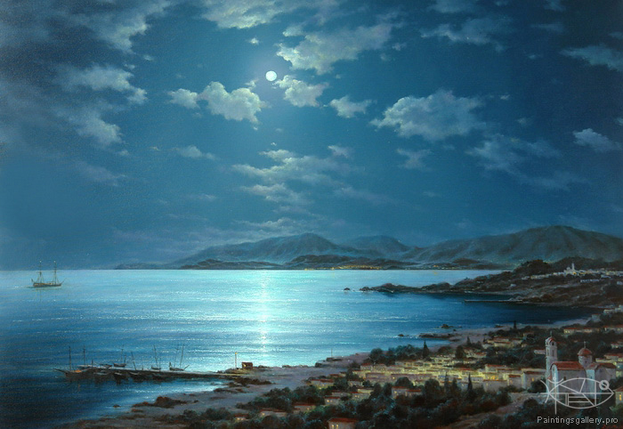 Dmitriew George - 'Moonlit Night on Crete'
