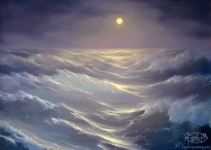 Dmitriew George - 'Moonlit Sea'