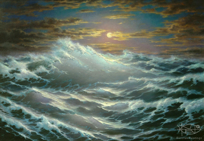 Dmitriew George - 'Stormy Sea at Moonlit Night'