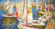 Filippov Yuriy - 'Celebration on the Volga River. Yachts'