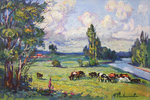 Filippov Yuriy  - 'Landscape with Herd'