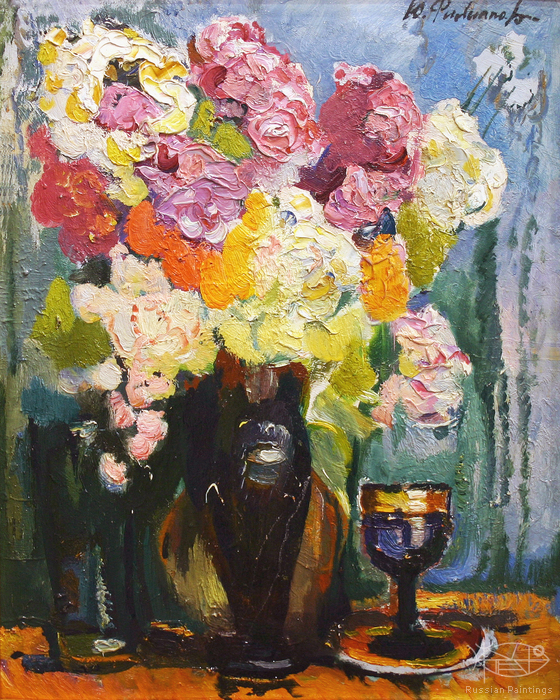 Filippov Yuriy - 'Still Life with Flowers in a Vase'