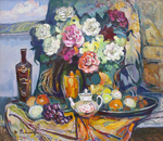 Filippov Yuriy  - 'Still Life with Teapot and Flowers'