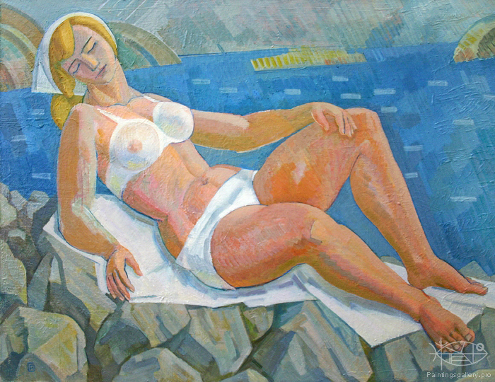 Ievlev Boris Alexandrovich - 'Russian Beauty on the Beach'