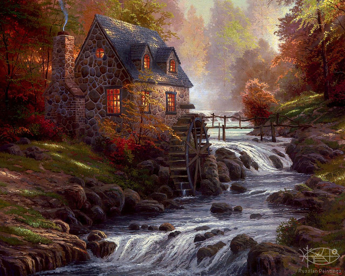 Kinkade Thomas - 'Landscape with Mill'