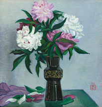 Lee Moesey - 'Peonies in a Black Vase'