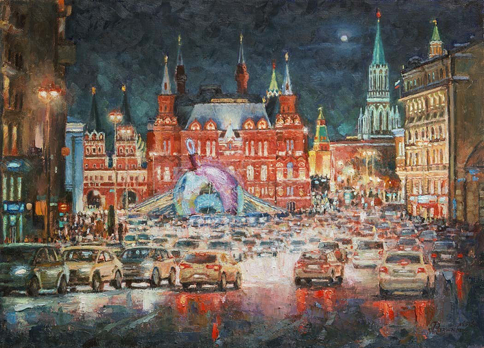 Razzhivin Igor - 'Neon Evening on Tverskaya'