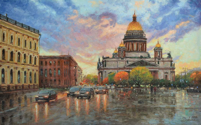 Razzhivin Igor Vladimirovich - 'St. Isaac's Square in the Sunset Light'