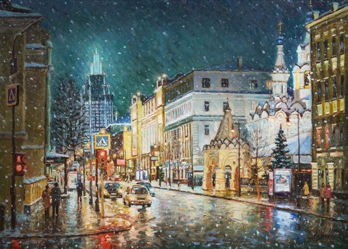 Razzhivin Igor Vladimirovich - 'The First Snow on Malaya Dmitrovka'