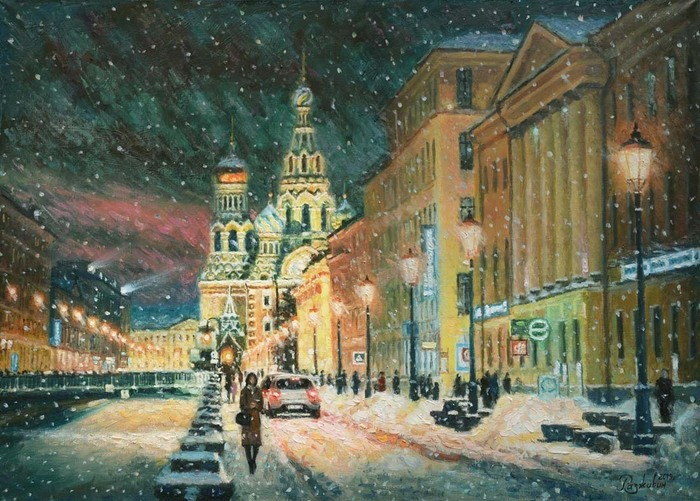 Razzhivin Igor Vladimirovich - 'Walking in Winter St. Petersburg'