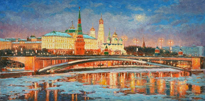 Razzhivin Igor - 'Winter Night. Kremlin in the Moonlight'