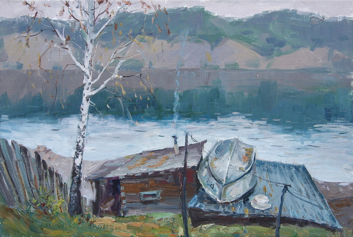 Schesnyak Viktor - 'Bathhouse on the Yenisei River'