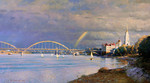 Shevelev Alexander - 'Bridge and Cathedral in Rybinsk'