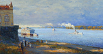 Shevelev Alexander - 'Evening on the Embankment in Rybinsk'