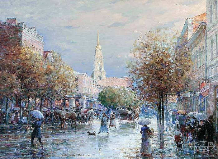 Shevelev Alexander - 'Rain on the Krestovaya Street'