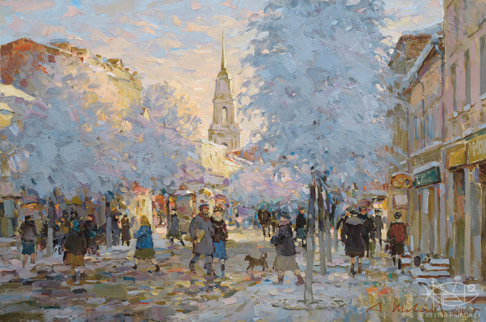 Shevelev Alexander - 'Rybinsk. The Krestovaya Street in Winter'