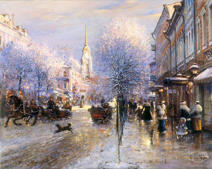 Shevelev Alexander - 'Winter on the Krestovaya Street'