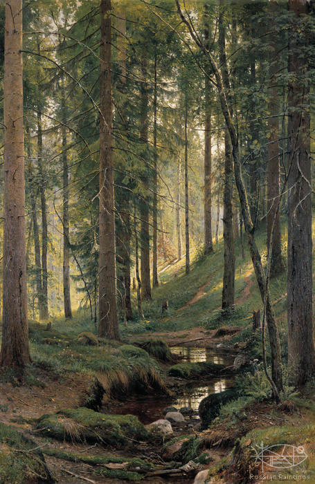 Shishkin Ivan - 'Stream in the Wood (On the Slope)'