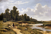 Shishkin Ivan - 'The Ligovka River in the Konstantinovka Village near St. Petersburg'