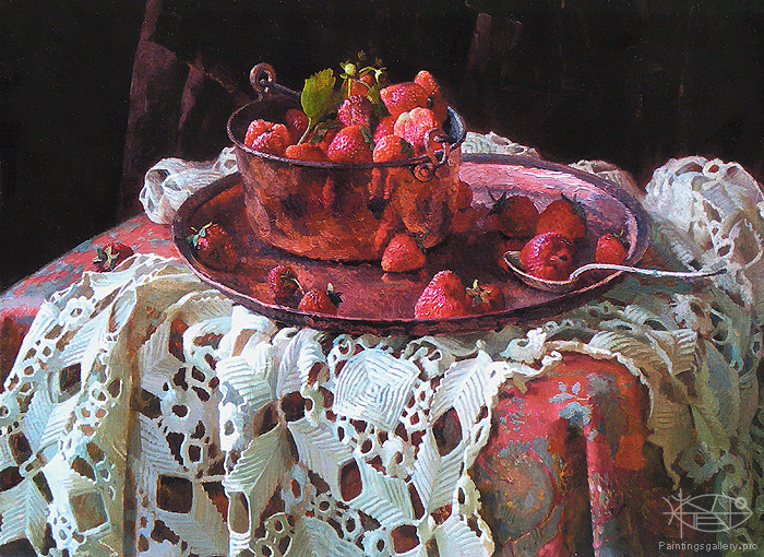 Wedernikow Boris - 'Still Life with Strawberry'